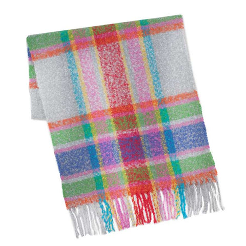 Lofty Check Scarf: Silver