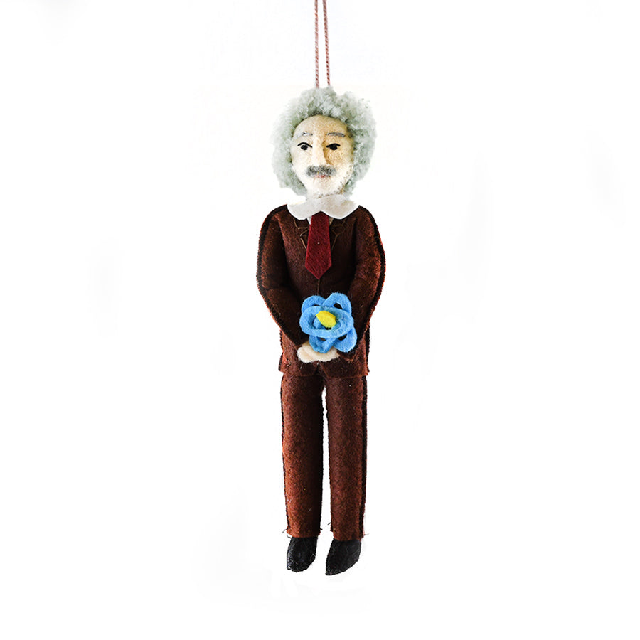 Ornament simulating Einstein holding an atom. His outfit is all brown with dark red tie.