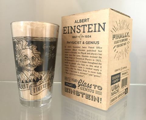 Albert Einstein Pint Glass - The New York Public Library Shop