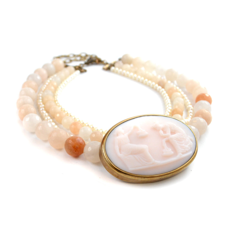 Pale Pink Cameo Statement Necklace - The New York Public Library Shop