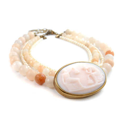 Pale Pink Cameo Statement Necklace