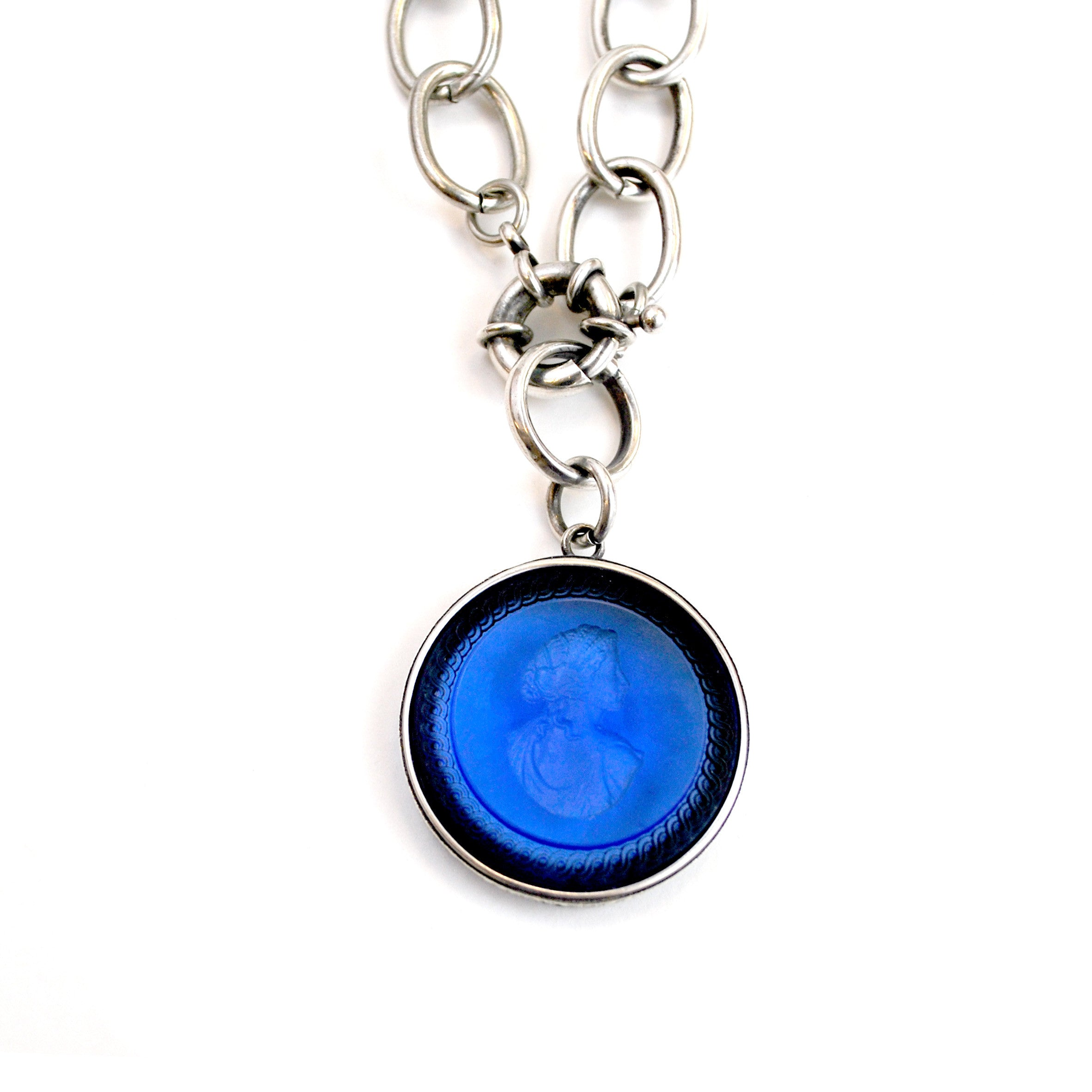 york exstasia front products loop intaglio new sapphire the pendant silver closure necklace public and blue chain
