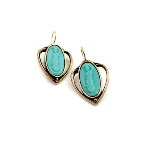 Mint Intaglio Earrings