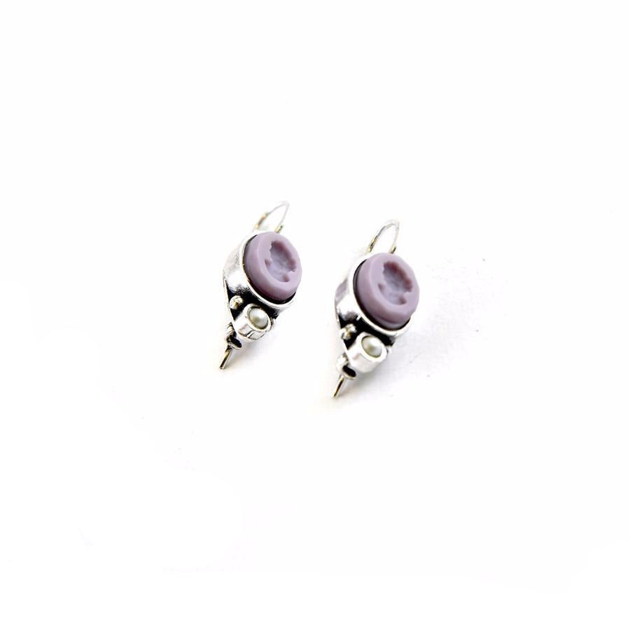 Oval Lilac Intaglio Earrings