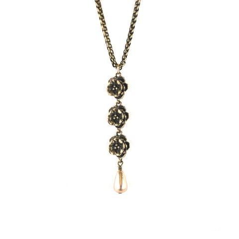 NYPL Triple Rosette Necklace
