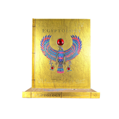 Cover features an Egyptian style illustration of a bird with red rocks on his peak and on in each paw. Background color is gold.