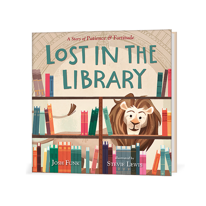 Cover features a cartoon illustration of one of the Library Lions walking around book shelves on a beige background.