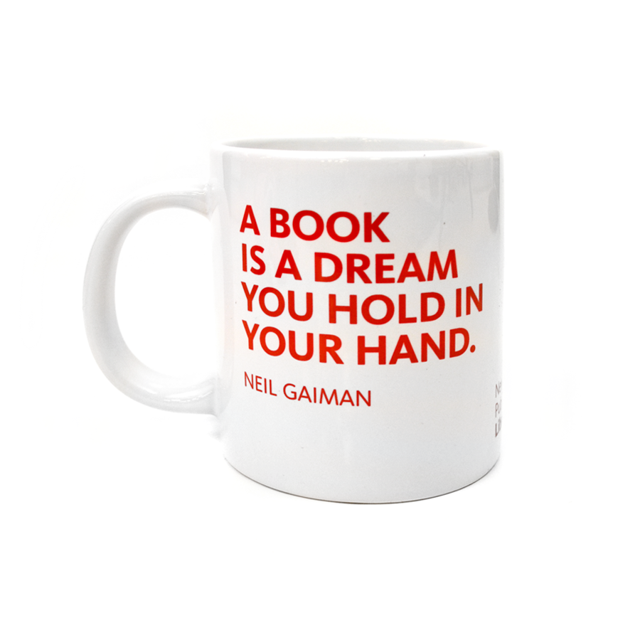 Quote in red letters on white background mug.