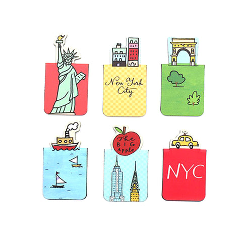 They feature The statue of liberty, the Washington Square Arch, a taxi, Empire State Building and Chrysler building with an apple, NYC buildings and Boat on the river