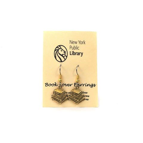 "Text ""book lover earrings"" is on the packaging. Along with text ""The New York Public Library"" with the library logo."
