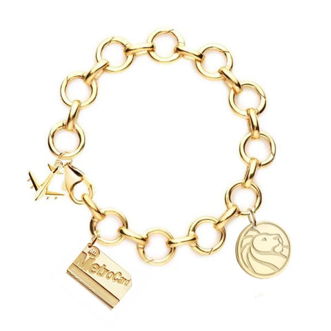 NYPL and NYC Gold Infinity Charm Bracelet