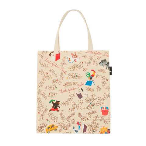 Different illustrations of animals and cars and leaves all over the reverse side of the tote.