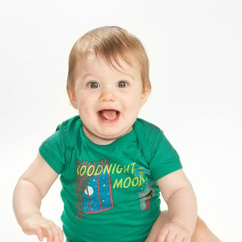 "All green onesie one cover of book ""Goodnight Moon"""