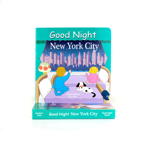Cover features a cartoon illustration of two kids with a dog looking out the window and admiring the NYC skyline.