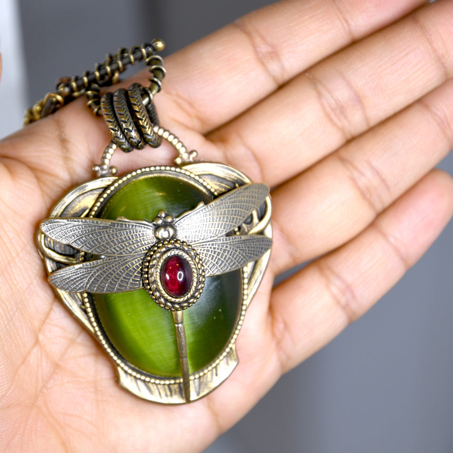 Olive Dragonfly Necklace - The New York Public Library Shop
