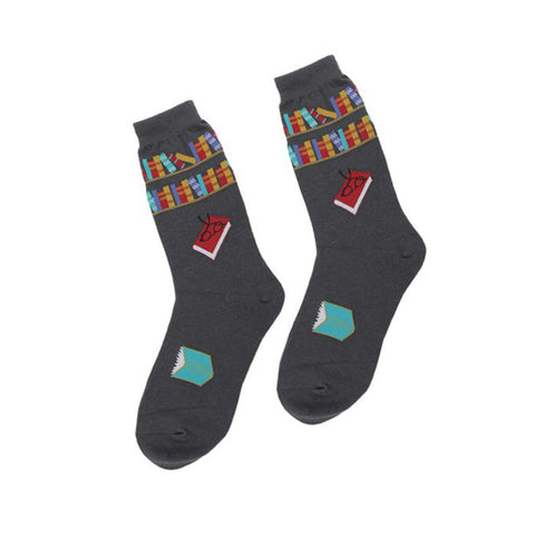 Grey Reading Books Socks