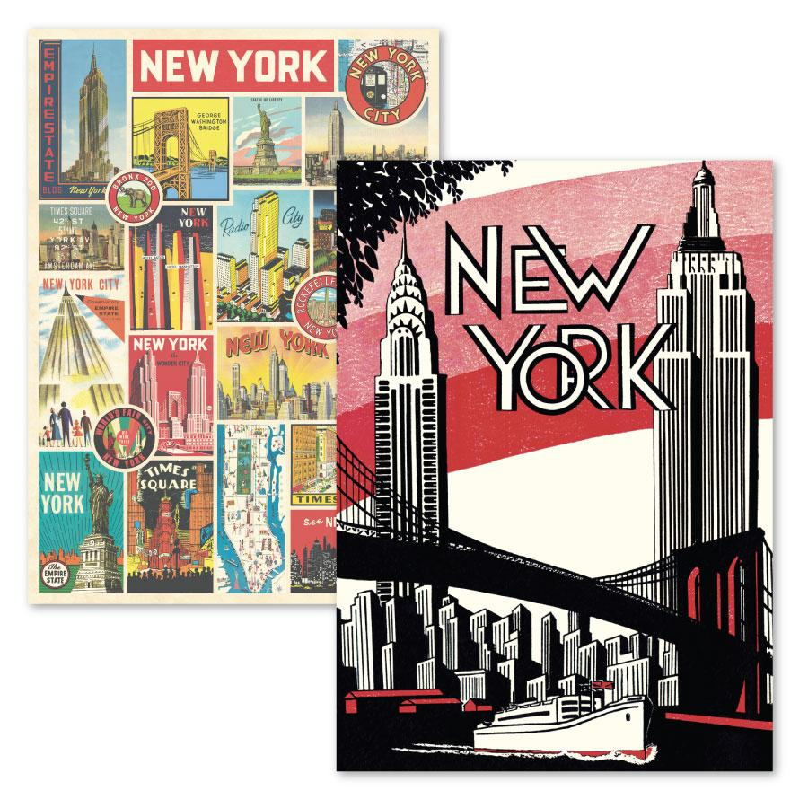 NYC Posters Set: Brooklyn Bridge & Patchwork Postcards