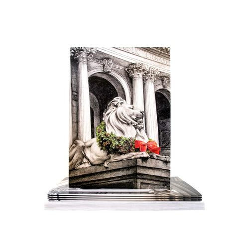 New York Public Library Lion in Winter Holiday Card Set