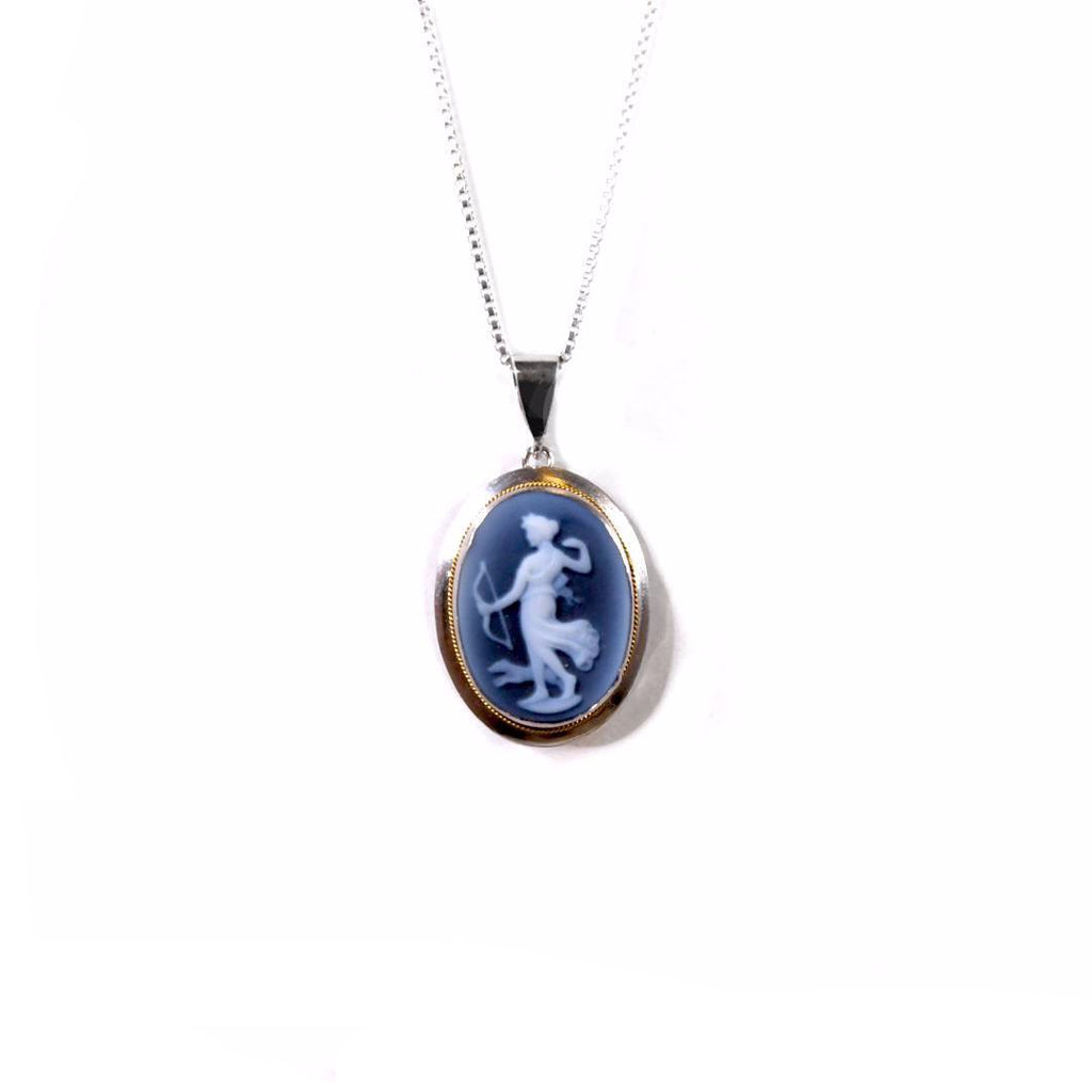 Diana the Huntress Blue Agate Cameo Necklace
