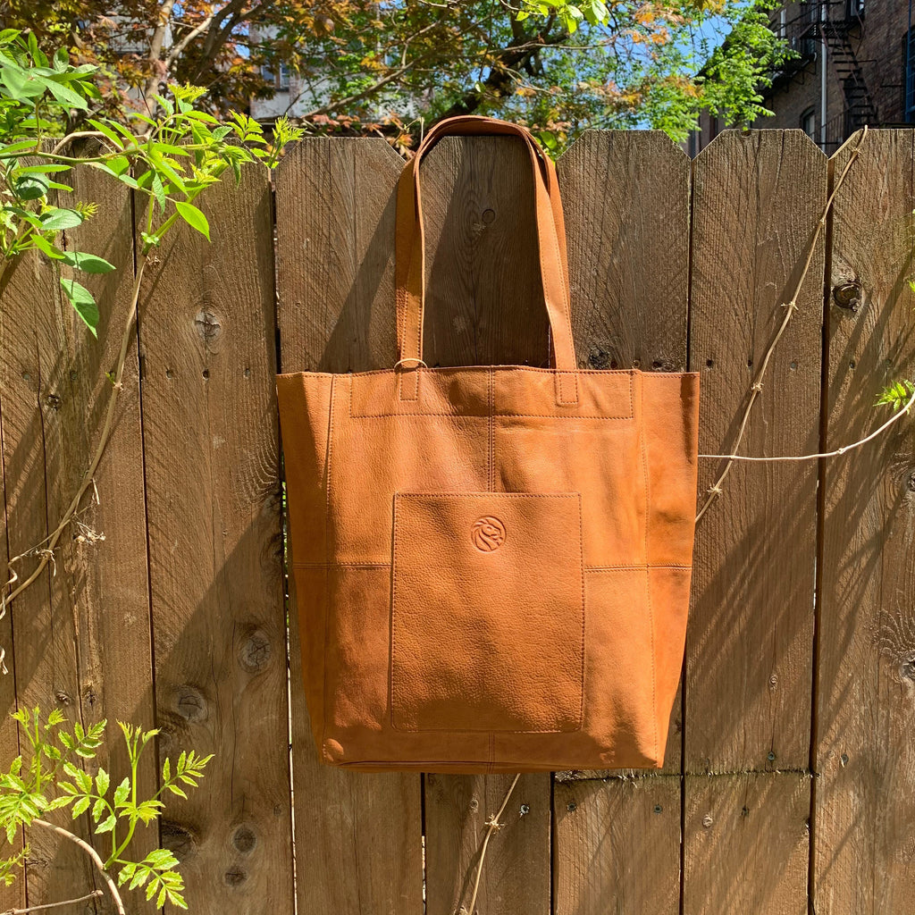 Tan NYPL 125th Anniversary Leather Tote Bag - The New York Public Library Shop