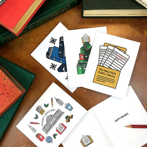 Books and Snow: Printable Greeting Card - The New York Public Library Shop