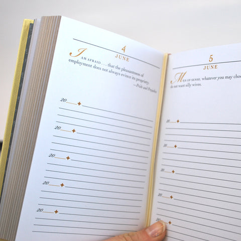 Each page has five different spaces to write for each day of the year.