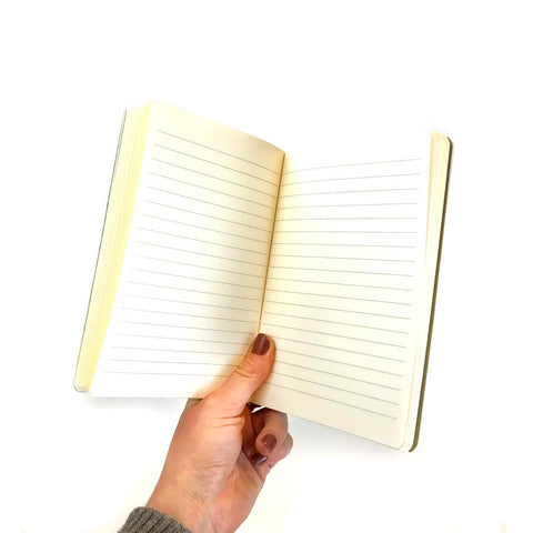 Notebook has lined paper
