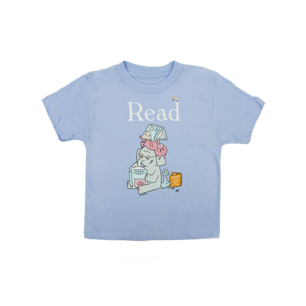 "Illustration of three animals (an elephant, a pig and a bird) reading books. Word ""Read"" on top. T-shirt is light blue."
