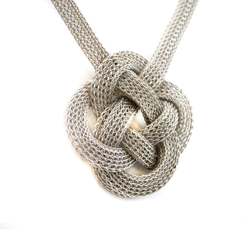 Silver Wire Flat Chinese Knot Necklace