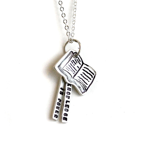 Knowledge is Power Quote Necklace
