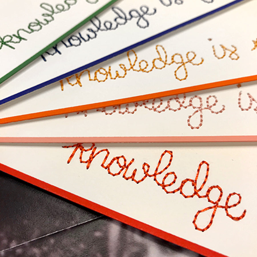 """Knowledge is Power"" Embroidered Stationery Set"