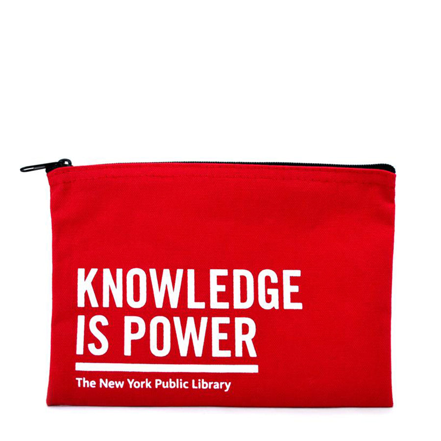 NYPL Red Knowledge is Power Pouch - The New York Public Library Shop