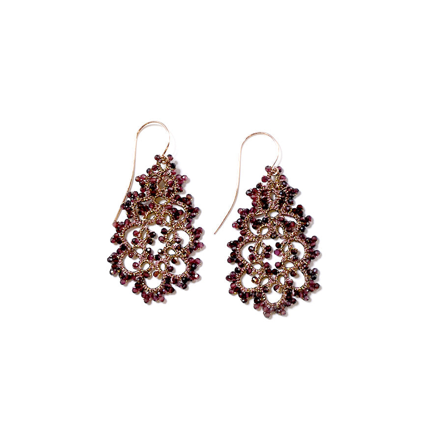 Lace Earrings: Elena in Garnet
