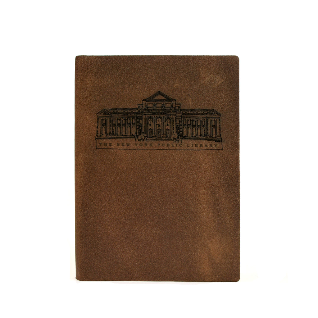 "Brown, leather notebook with the sketch in black on the front. Text at the bottom of the sketch reads ""The New York Public Library"""