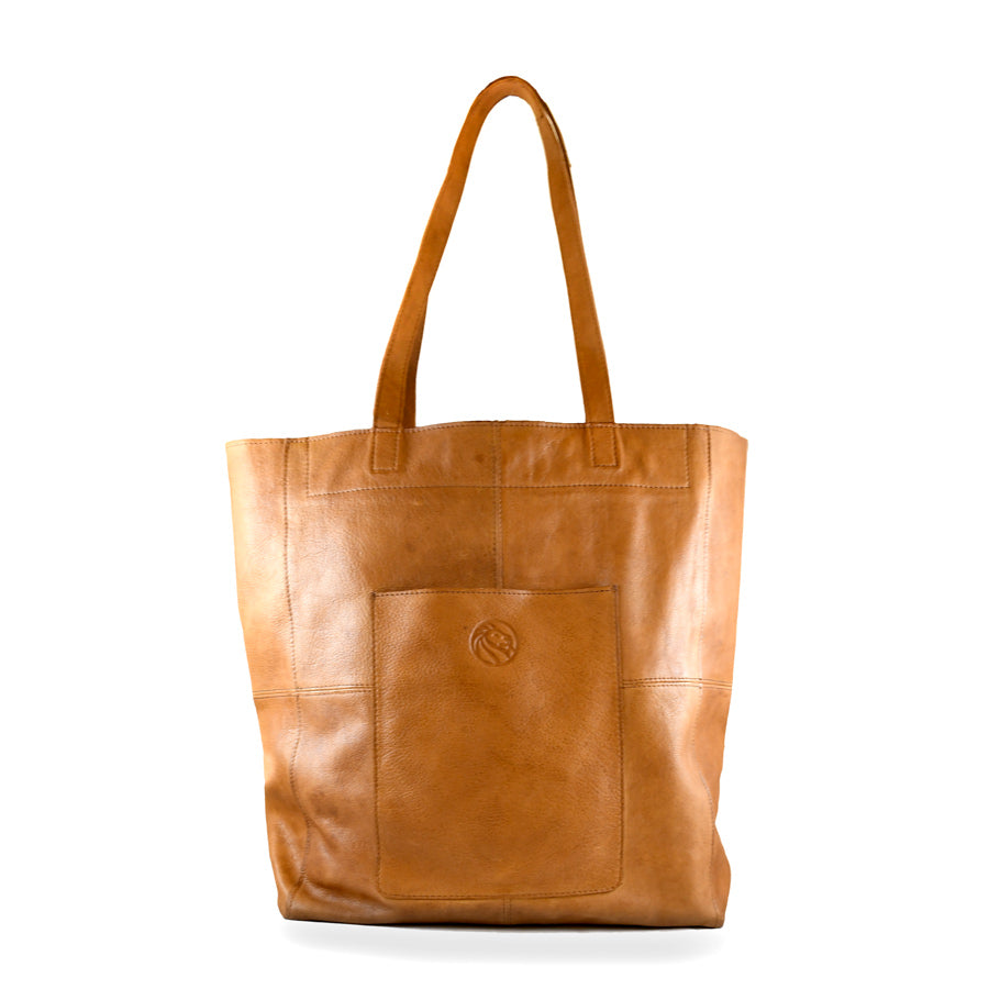 Tan NYPL 125th Anniversary Leather Tote Bag