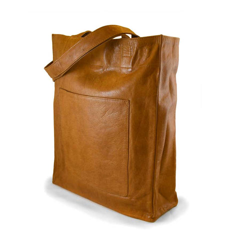 Leather Tote Bag: Saddle