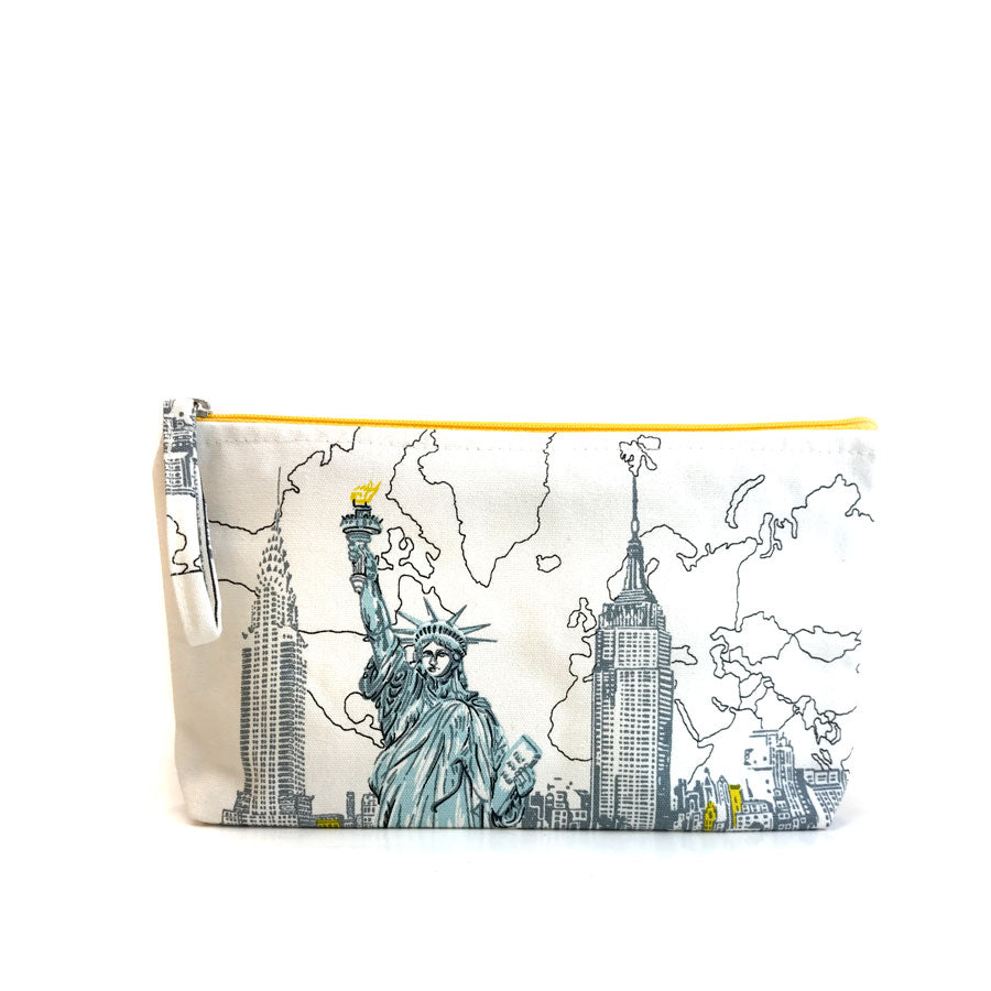 Pouch featuring Chrysler Building, the Empire State Building and the Statue of Liberty on a off-white background pouch. Zipper is yellow