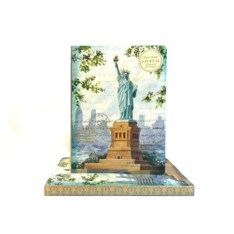 Water colors illustration of the Statue of Liberty on the cover,