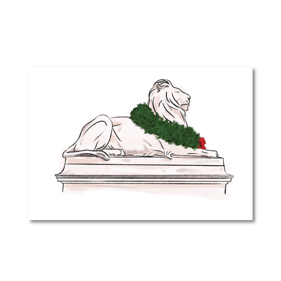 Library Lion with Wreath: Printable Greeting Card