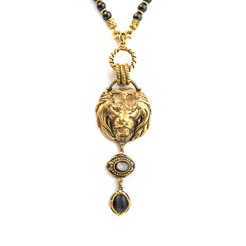 Gold Lion Head Necklace with Charcoal Drop
