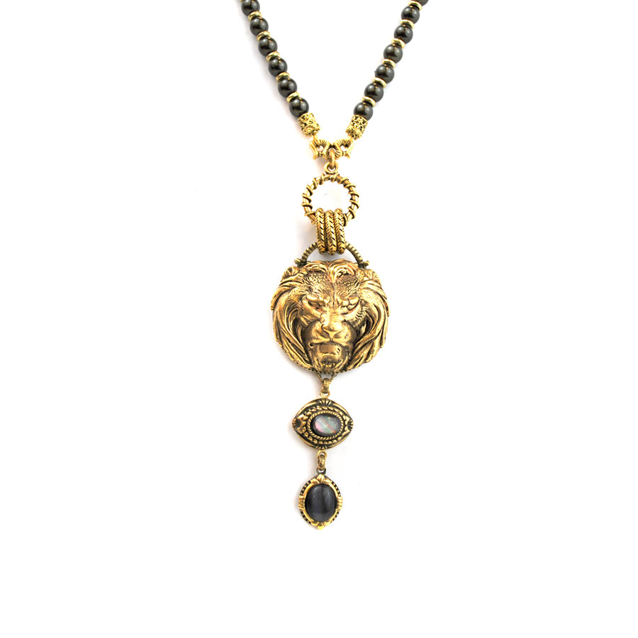 Gold Lion Head Necklace with Charcoal Drop - The New York Public Library Shop