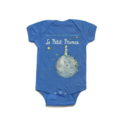 "Blue onesie with text ""Le Petit Prince"" and an illustration related to the book."