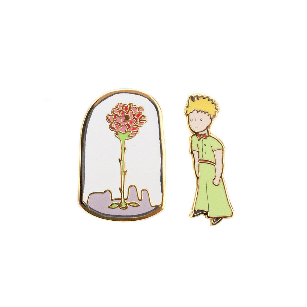 Includes two pins: one of a flower inside a enclosed vase, the second one is the prince.