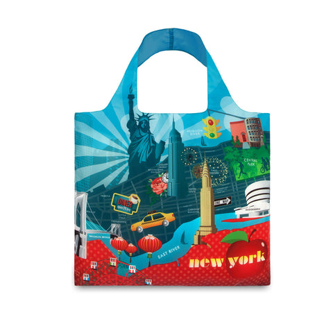 Bag highlights all the main attractions of NYC: Yellow taxicab, Empire State building, the Statue of Liberty, etc.