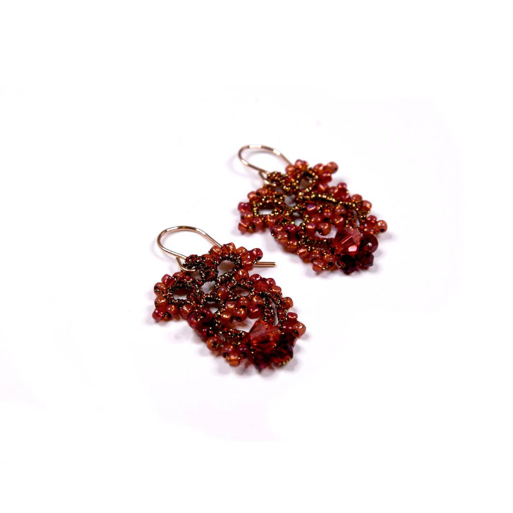 Lace Earrings: Ruby