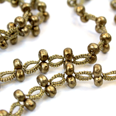 Glass beads and threads are bronze colored.