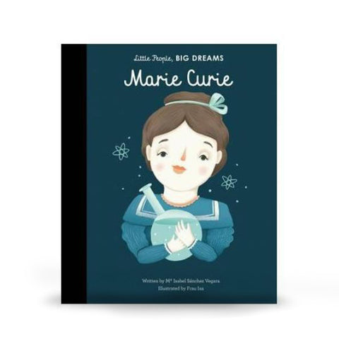Cover features a cartoon illustration of Marie Curie on a dark blue background.
