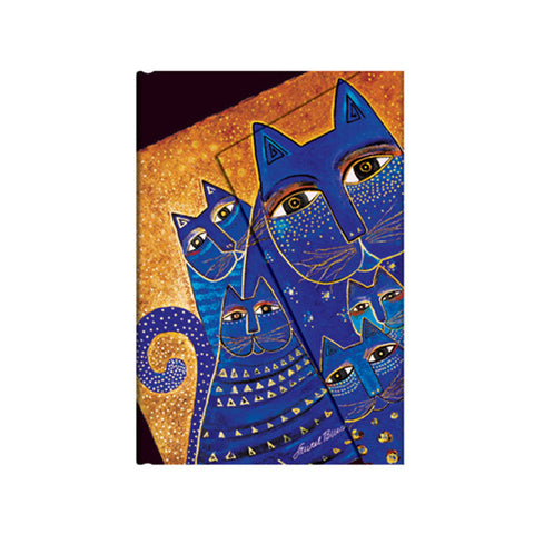 Illustration of cats are blue and the background is gold colored