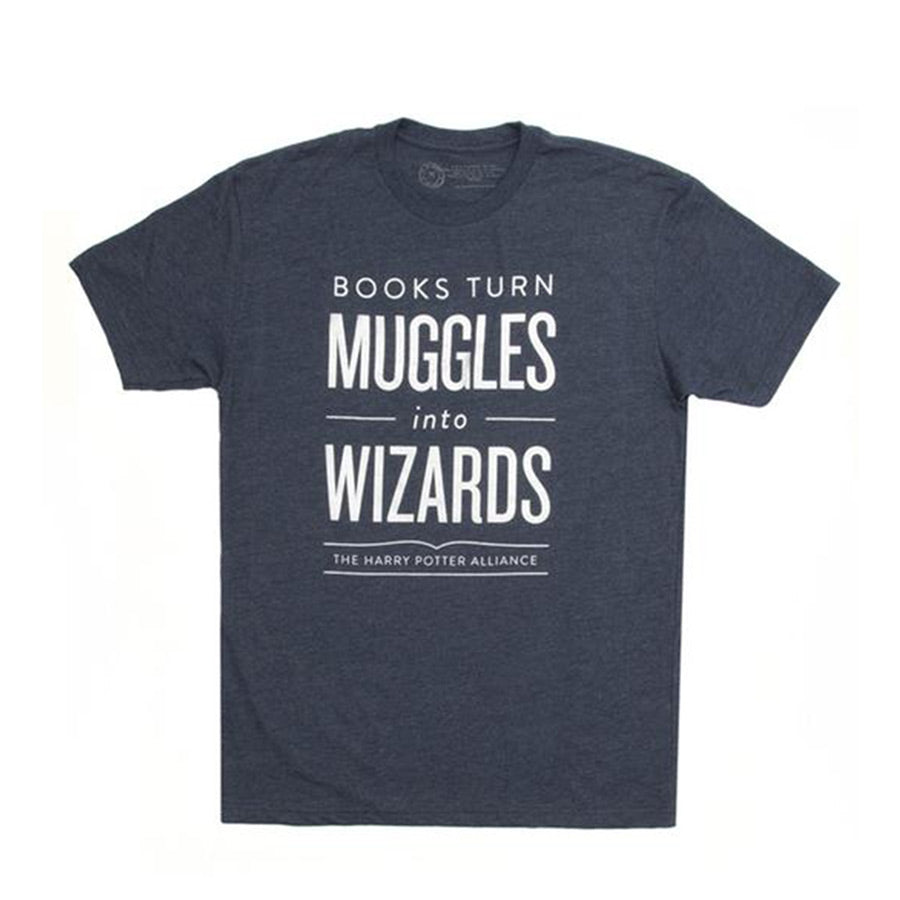 "Text ""Books turn muggles into wizards. The harry Potter alliance."" on blue-gray shirt."