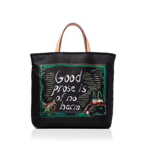 All black tote with Pettibon's quote and illustration. The illustration consists of creepy clown and a firecracker-wielding parrot in garish greens, pinks, and reds.